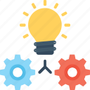 bulb, cog, creative, idea, solution icon