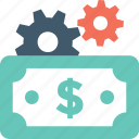 banking, banknotes, cog, currency, money icon