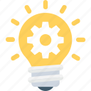 bulb, cog, creative, idea, solution