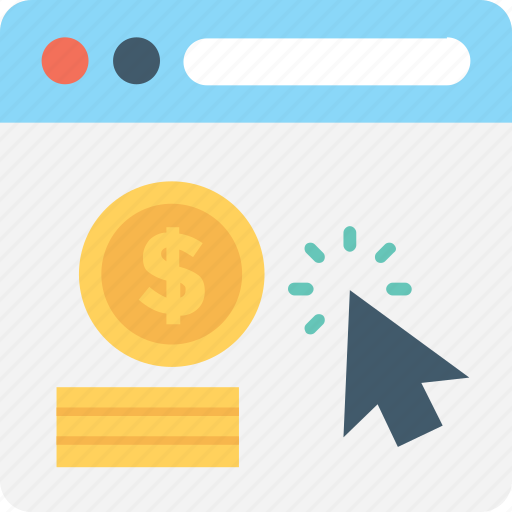 cost per click, dollar, online business, pay per click, ppc icon