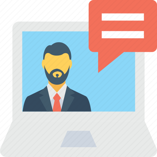communication, laptop, video call, video chat, video conference icon