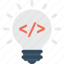 bulb, coding, light, programming, solution icon