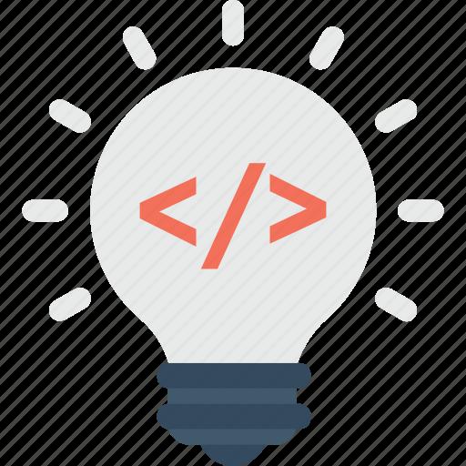bulb, coding, light, programming, solution icon
