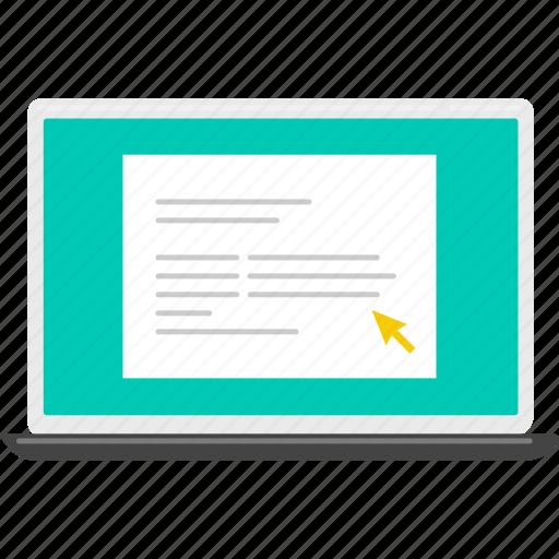 computer, cursor, document, file, laptop, work icon