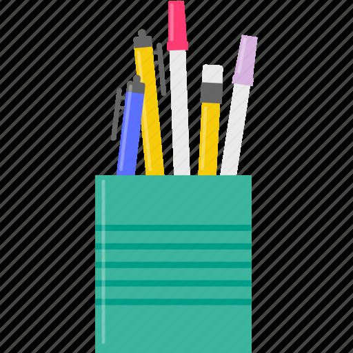 pen, pencil, pencil case, study icon