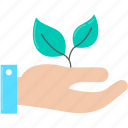 ecology, hand, sprout icon