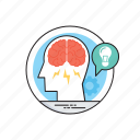 brainstorm, creative esthetics, ideas generation, logical thinking, marketing plans icon