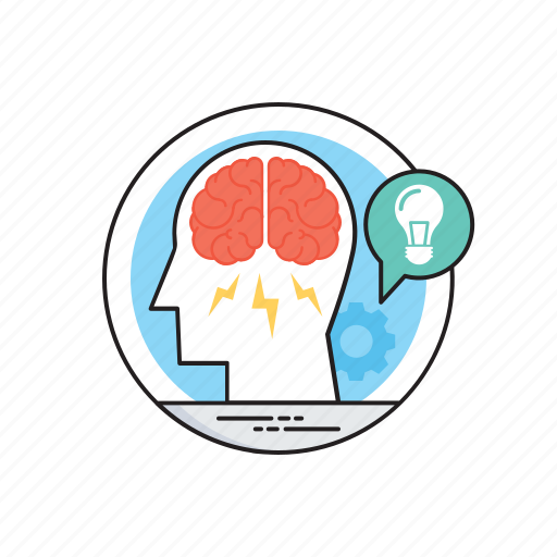 brainstorm, creative esthetics, ideas generation, logical thinking, marketing plans icon
