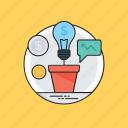 business idea, earning strategy, lightbulb, marketing plans, profit generation plan icon