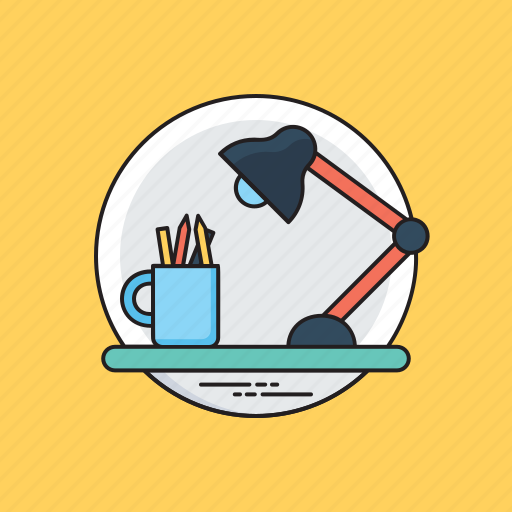 office desk, office environment, study table, working desk, workplace icon