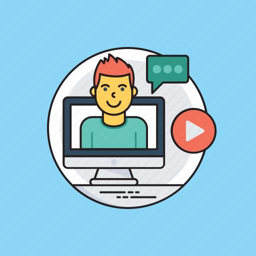 business training, computer course, internet seminars, managing online organization, webinar icon