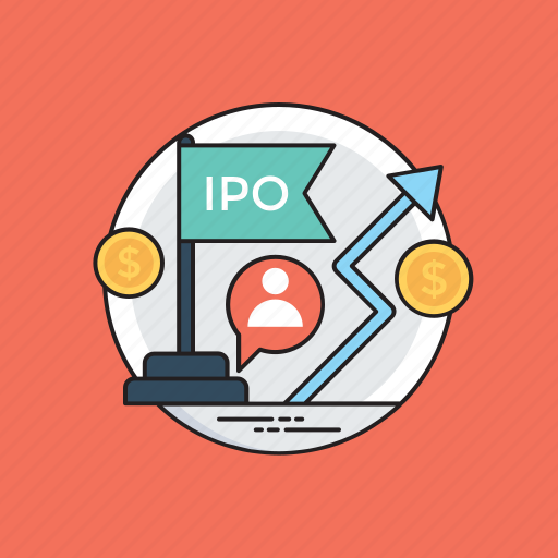 aim objective, initial public offering, ipo, stock market, stock market launch icon