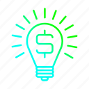 bulb, business, idea, light, marketing icon