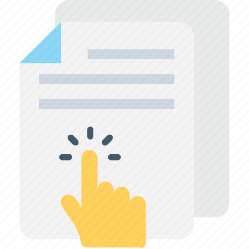 click, document, file, hand gesture, online docs icon