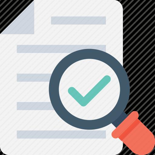 checkmark, document, file, magnifier, search complete icon