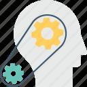 brainstorming, cog, creativity, head, thinking
