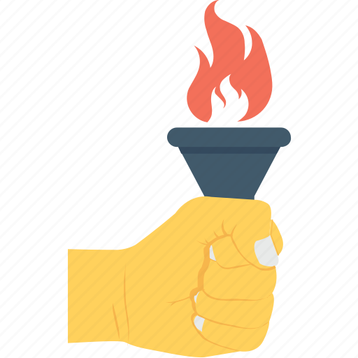 flame, hand, leadership, motivation, torch icon