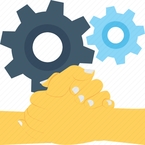 associates, cogs, collaboration, helping hand, partners icon