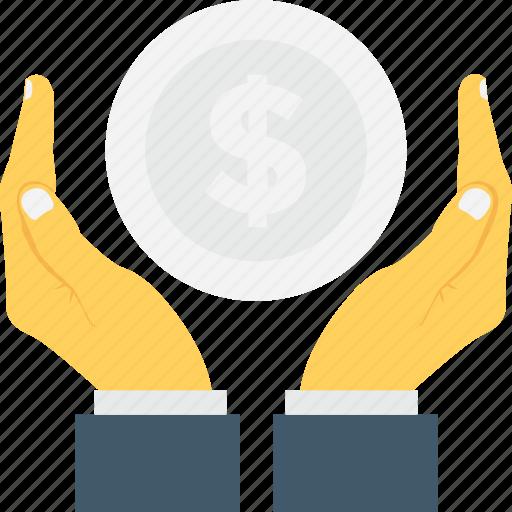 dollar, hands, insurance, money, safe banking icon