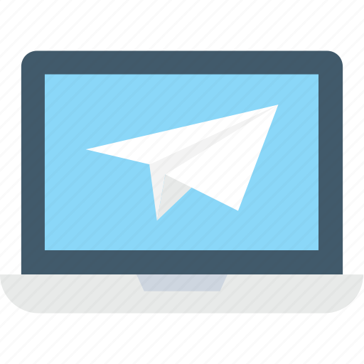 laptop, paperplane, screen, send mail, send message icon