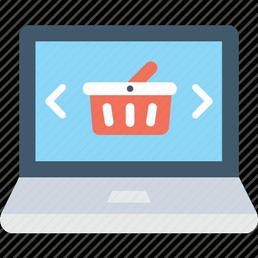 e commerce, e shop, laptop, online shopping, shopping basket icon