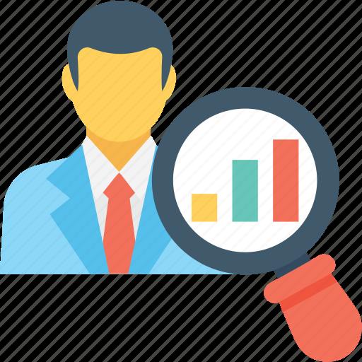 analyst, analytics, businessman, economist, magnifier icon