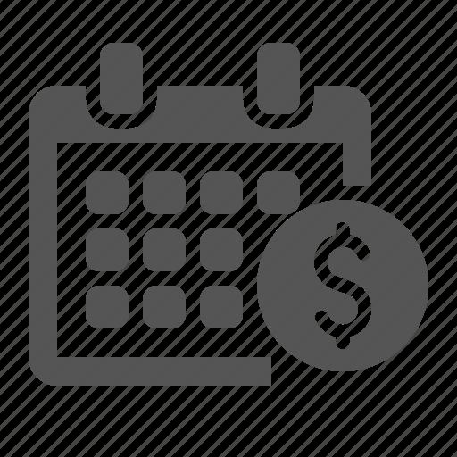 calendar, finance, income, money, salary, timer icon
