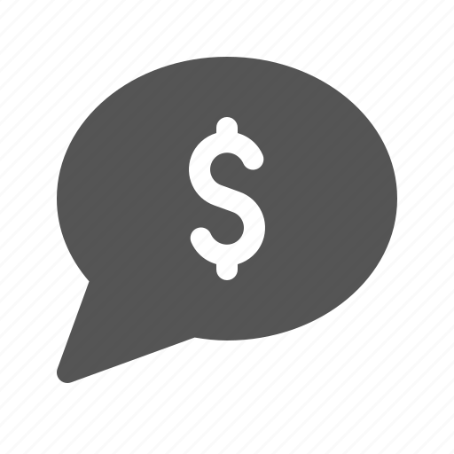 bubble, cash, dollar, message, money icon
