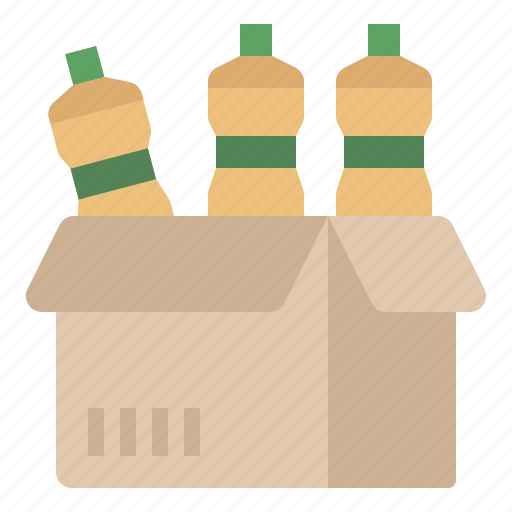 bottles, box, delivery, goods, packaging, product, shipping icon