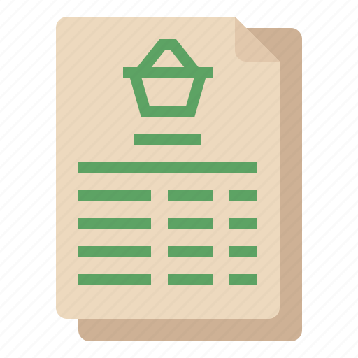 document, invoice, list, order, shopping icon
