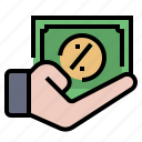 business, commission, earn, money, percentage, revenue, tax icon
