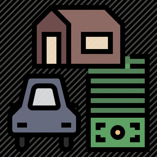 asset, business, debt, financial, liabilities, loan, money icon