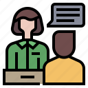 desk, enquiry, front, help, information, question, reception icon