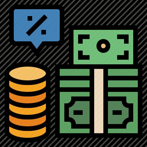 banking, cash, financial, interest, money, percent, profit icon