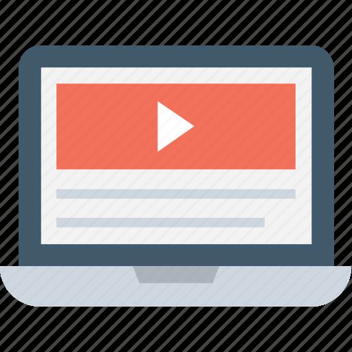 laptop, media, media player, multimedia, play video icon