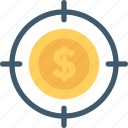 business target, dollar, focus, marketing, seo icon
