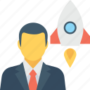business launch, businessman, marketing, rocket, startup icon