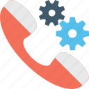cogs, helpline, receiver, technical support icon