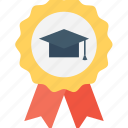 award, badge, certified, mortarboard, winner icon