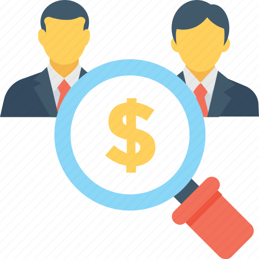 banking, businessmen, investor, magnifier, search money icon