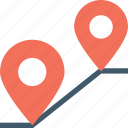 gps, location pin, map pin, navigation, travel distance icon