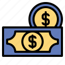and, business, cash, coins, currency, finance, money icon