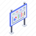 business data, business presentation, graphical presentation, presentation easel, sales pitch icon