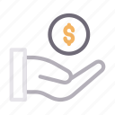 cash, dollar, hand, money, pay icon
