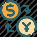 banking, coin, dollar, exchange, yen icon