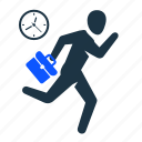 businessman, busy, clock, fast, man, stick figure, stick figures icon