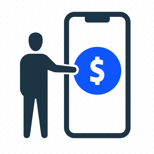 business, dollar, man, mobile, money, send, transfer icon