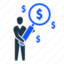dollar, find, man, money, profit, search icon