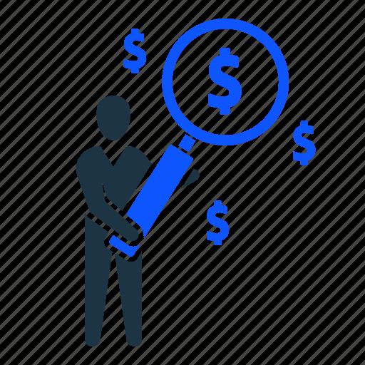 dollar, find, man, money, profit, search icon