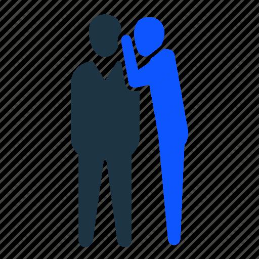 boss, gossip, hide, talk, trust icon